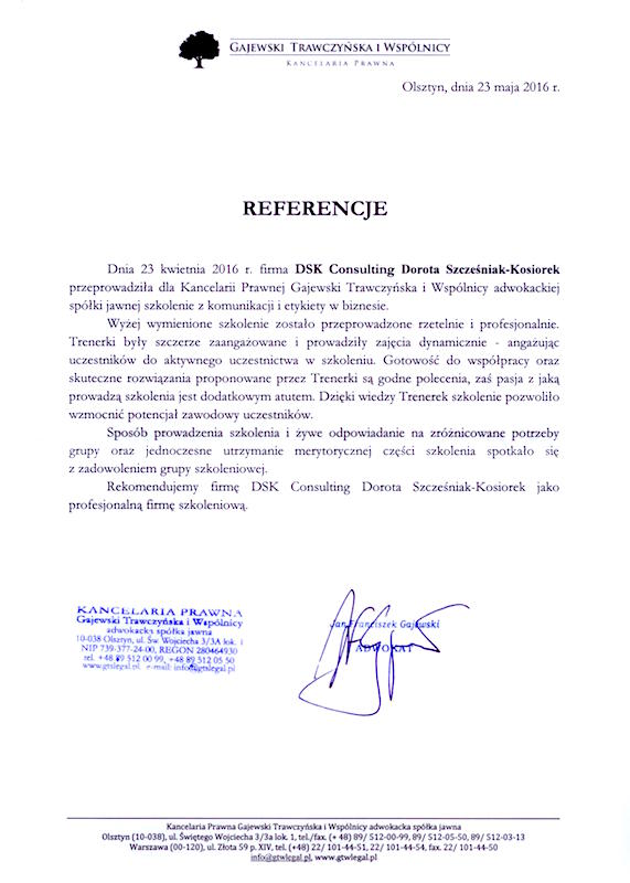 Referencje Dorota Szcześniak-Kosiorek Consulting KancelariaPrawna